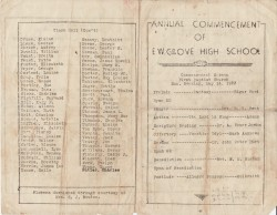 1933 Grove High School Commencement Program [Front/Back Pages]
