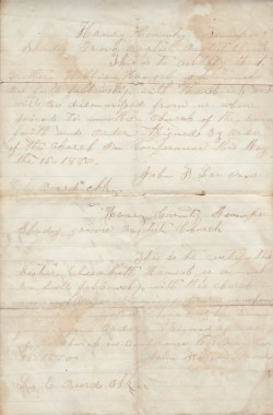 Hansel Dismissal Letter, Shady Grove Baptist Church, May 15, 1880