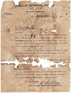 "Letter, J. W. ""Jackie"" Gray, Jr. to Navy Recruiter, January 20, 1920"